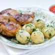 Stock Photo: Roasted chicken and potato with vegetables
