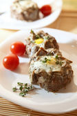 Eggs in the minced meat — Stock Photo
