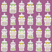 Jars with confections seamless pattern — Stock Vector