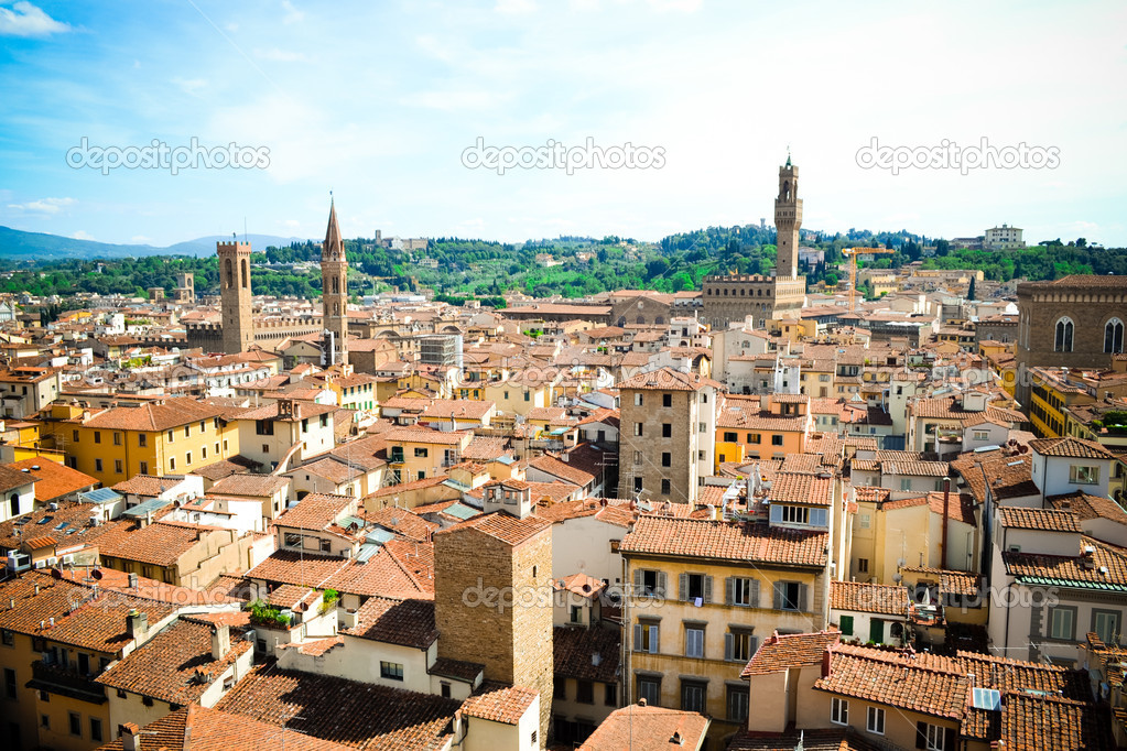 Kind on roofs of an old city from height — Stock Photo #10955724
