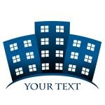 建物とあなたのテキストのためのスペースの青いベクトル シンボル — ストックベクタ #11273534