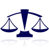 Justice scales - vector blue icon — Stockvector