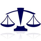 Justitie schalen - vector blauwe pictogram — Stockvector