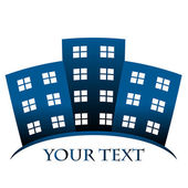 Vector blue symbol of buildings and space for your text — Stock Vector
