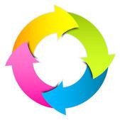 Círculo colorido flechas vector — Vector de stock