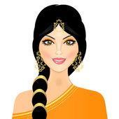Vector illustration of eastern girl in orange — Stock Vector