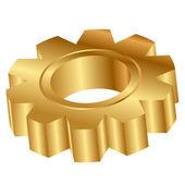 Vector 3d illustration of golden cog wheel — Stock Vector