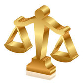 Vector 3d icon of golden justice scales — Stock Vector