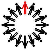 Ilustración vectorial de gerente y los empleados están parados en un círculo — Vector de stock