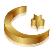 Vector 3d illustration ofgold star and crescent — Stock Vector