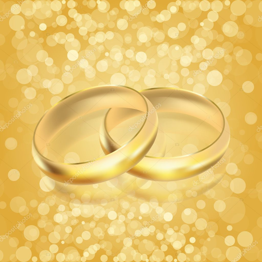 Vector illustration of rings - golden background — ベクター素材ストック #11274078