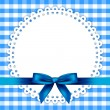 Vector blue background with napkin and ribbon — Stock Vector