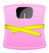 Vector illustration of pink bathroom scale with measuring tape — Stock Vector