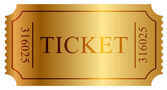 Vector illustration of gold ticket — Stock vektor