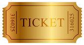 Vektorové ilustrace zlatý ticket — Stock vektor