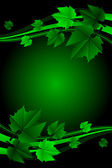 Vector green frame with leaves — Stock Vector