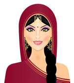 Vector illustration of Indian woman smiling — 图库矢量图片