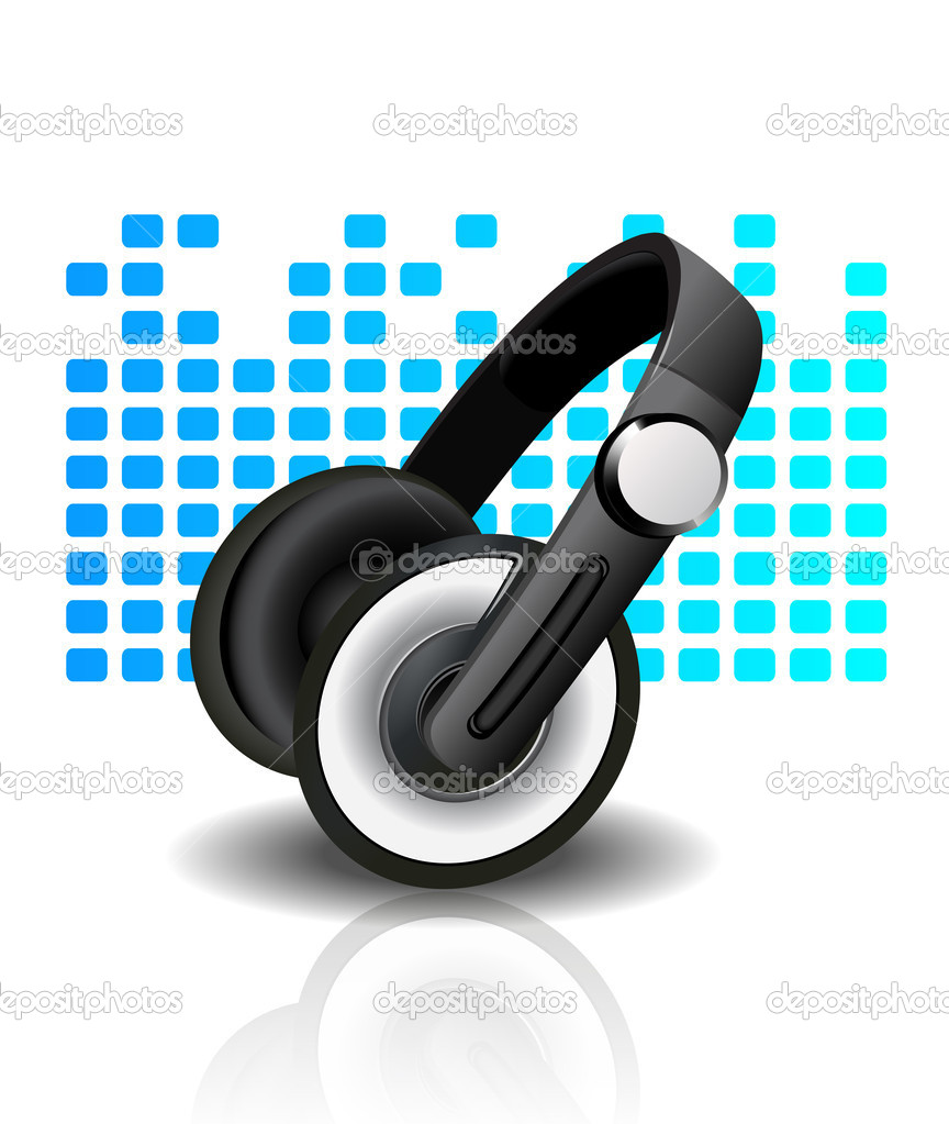 Vector illustration of headphones - blue background — Stock Vector #11923468