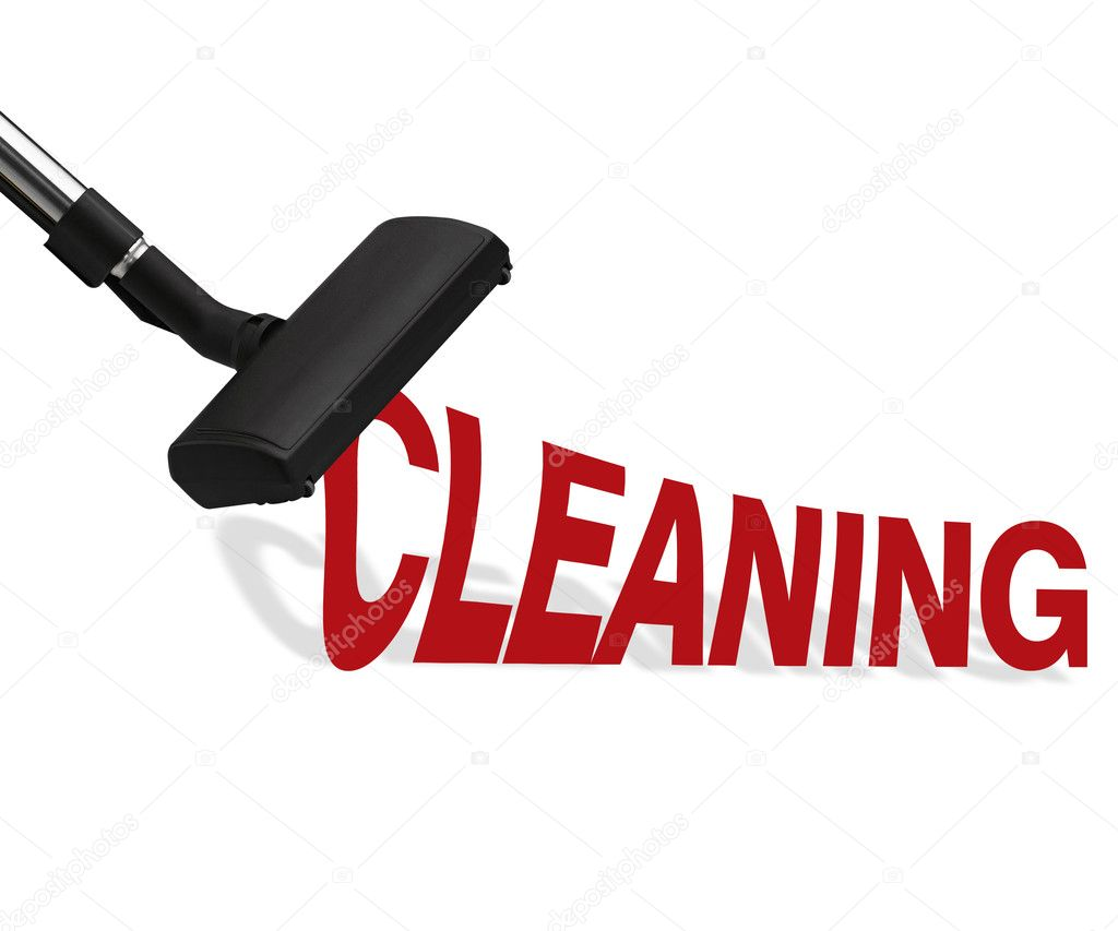 Vacuum cleaner on white background Suction cleaning word. — Lizenzfreies Foto #11895890