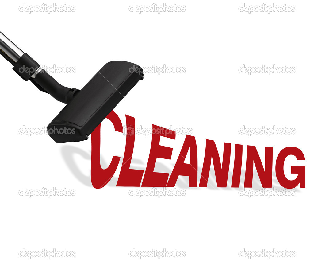 Vacuum cleaner on white background Suction cleaning word.  Stockfoto #11895890