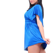Upskirt vestido azul — Foto de Stock