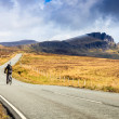 Stock Photo: Bikers on highway through desolate landscape