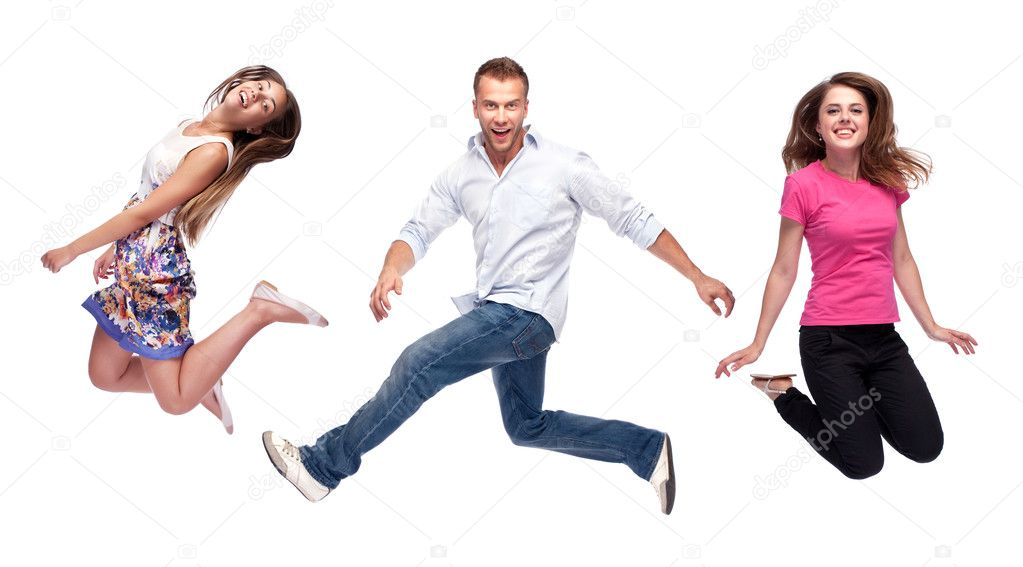 Group of happy young jumping - isolated over a white background — Stock Photo #11328172