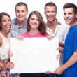Group of holding a blank billboard - Stock Photo