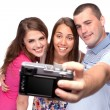 Happy taking picture of themselves — Stockfoto
