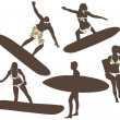 Vector illustration of surfers — Stock Photo