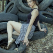 Girl and wheels - Stockfoto