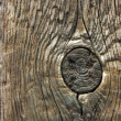 Knot in treated wood — Stock Photo