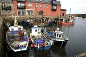 Boats in Dunbar harbour, Scotland — Foto Stock