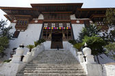 ENTRANCE STAIRS OF PUNAKHA DZONG. BHUTAN. — Stock Photo