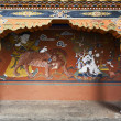 DECORATED WALL AND PILLARS IN RINPUN DZONG IN PARO - BHUTAN. — Stock Photo #10949491