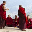 Stock Photo: MONKS DISCUSSING IN NALANDBHUDDIST COLLEGE - PUNAKH- BHUTAN