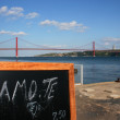 Tagus River - Amo te tejo - I love you Tagus river - with 24 April bridge - Lisbon - Stock Photo