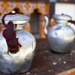 Royalty-Free Stock Photo: Two tea pots made of tin on a table - Bhutan - Asia