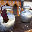 Two tea pots made of tin on a table - Bhutan - Asia — Stock Photo