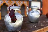 Two tea pots made of tin on a table - Bhutan - Asia — Stock Photo