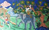手绘壁画的佛教徒在蒙加尔宗-不丹的故事 — 图库照片
