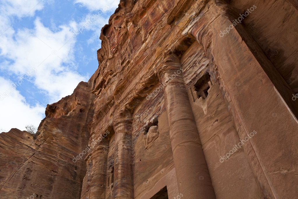 Facade of the Urn Tomb - build by the Nabataeans in Petra, an Unesco World Heritage Site in Jordan - Middle East. — Stock Photo #11681093
