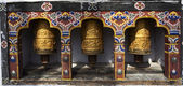 PRAYER WHEELS IN CHIMI LAKHANG - PUNAKHA - BHUTAN — Stock Photo