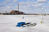 Boat In Frozen Harbor — Stock Photo