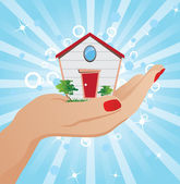 House on the palm of your hand — Stock Vector