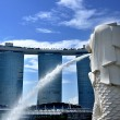 The Merlion Park and Marina Bay Sands Resort — Stock Photo
