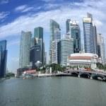 Panorama of Singapore skyline and river — Stock Photo #11334362
