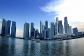 Panorama of Singapore skyline and river — Stock Photo