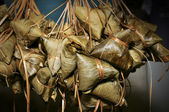 Rice dumplings with bamboo leaf — Stock Photo