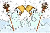 Christmas snowmen dance — Stock Vector